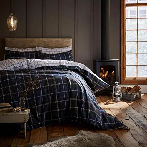 -[ Catherine Lansfield Brushed Tartan Check Duvet Set, Cotton, Navy, Double  ]-