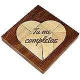 """Puzzle con forma de Corazón - Madera Oscura - Con grabado """"Tu me completas"""" - Juego de mesa - Puzzle Tangram - Juego de paciencia - Regalos para San Valentín"""