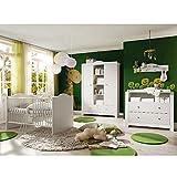 Babyzimmer Paris weiß matt 5 tlg. helle Griffe Komplett Set Baby
