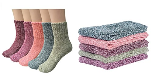 Deal of The Day Santwo Colorful Stripe Warm Wool Blend Knited Hold-up Boot Ankle Socks 1-5 Pairs Size - UK 4-7 (5 Pairs (Retro Pure Colour))