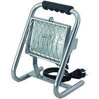 Brennenstuhl Halogenstrahler / Flutlicht Halogen ideal als mobiler Baustrahler (Außenstrahler IP54 geprüft, 5m Kabellänge, 400 Watt) Farbe: silber