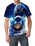 Goodstoworld T Shirt 3D Galaxy Katze Druck Herren Damen Printed Sommer Lustig Beiläufige Kurzarm Cooles T-Shirts Tee Top M
