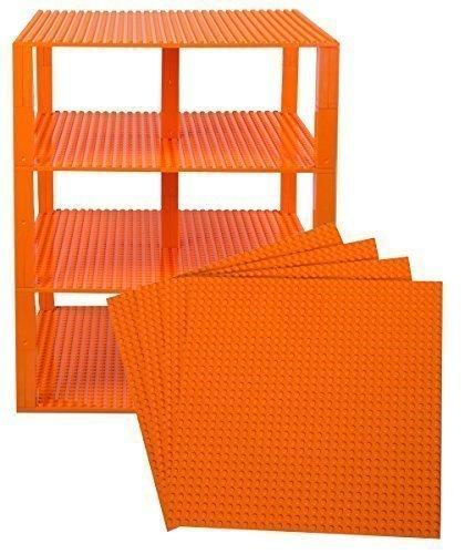 Strictly Briks Premium-orange stapelbare Grundplatten - 4er Pack 10