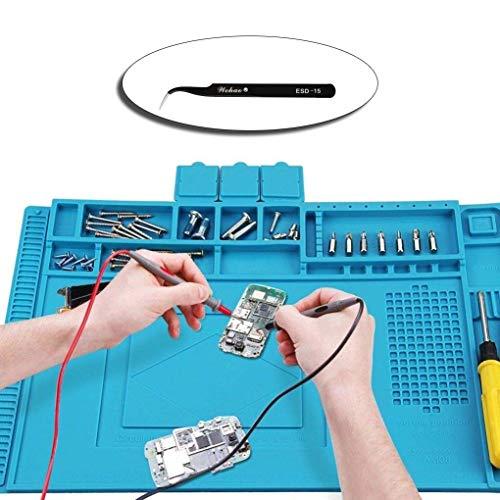 kon 500℃ Hitzebeständige Magnetisch Reparatur Matte Arbeitsmatte soldering mat antistatisch für Lötpistolen, Heißpistolen - groß 45x 30cm ()