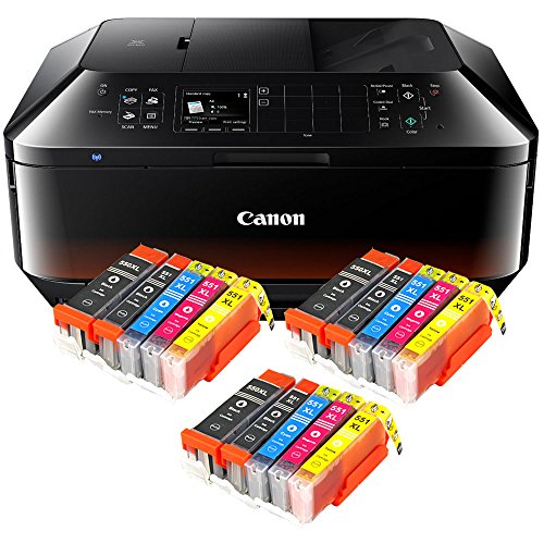 Canon Pixma MX925 MX-925 All-in-One Farbtintenstrahl-Multifunktionsgerät (Drucker, Scanner, Kopierer, Fax, USB, WLAN, LAN, Apple AirPrint) schwarz + 15er Set IC-Office XL Tintenpatronen 550XL 551XL