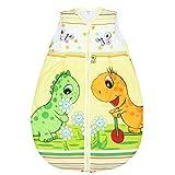 Babyschlafsack ohne Ärmel Kinderschlafsack Wattierter Baby Schlafsack Eulen Giraffe Elefanten, Farbe: Dino Orange, Größe: 92-98
