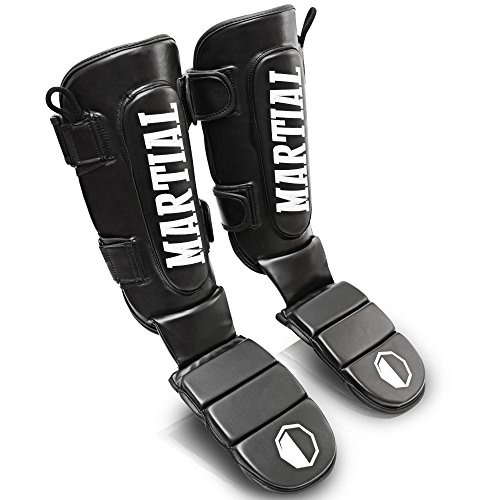 MARTIAL Schienbeinschoner mit perfektem Sitz und idealer Polsterung! Schienbein-Schutz mit geringer Schweißentwicklung für hohen Tragekomfort. Beinschützer für Kampfsport, MMA, Kickboxen inkl Beutel! (Schwarz, L)