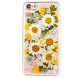 MAOOY Créatif Bumper Couverture pour iPhone 6s, Colorée Mode Fait à la Main Naturel de Vraies Fleurs Pétales Design Protection à Soft Jelly Rubber Pare-Chocs pour iPhone 6/6s, Fleurs Colorées 6