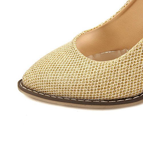 VogueZone009 Femme Pu Cuir à Talon Haut Pointu Couleur Unie Tire Chaussures Légeres Doré
