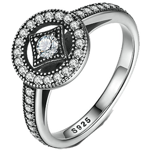 SaySure- 925 Sterling Silver Vintage Allure Finger Ring (SIZE : 8) (Design Ring Vintage Fashion Crown)