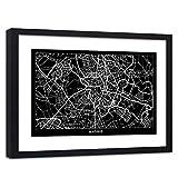 Feeby Cuadro con Marco XXL Madrid Arte Moderno Mapa de la Ciudad Negro 120x80 cm