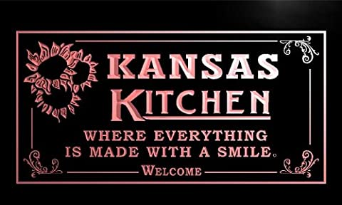 ps2016-r Kansas Personalized Welcome Kitchen Bar Wine Neon Light Sign