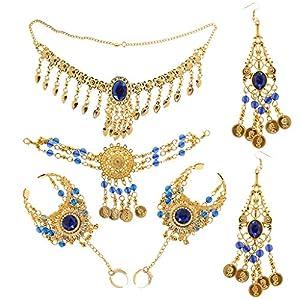 Generic Retro Schmuck Set – Anhänger Halskette Ohrringe Stirnband Ring Set – Bauchtanz – Schmucksets für Damen