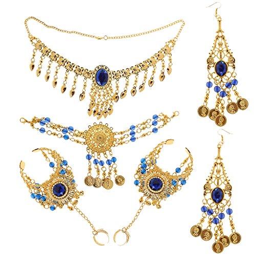 Generic Retro Schmuck Set - Anhänger Halskette Ohrringe Stirnband Ring Set - Bauchtanz - Schmucksets für Damen - Blau