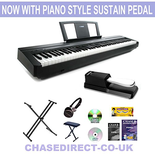 new-model-yamaha-p-45-digital-piano-now-with-piano-style-sustain-pedal-bundle-by-chase