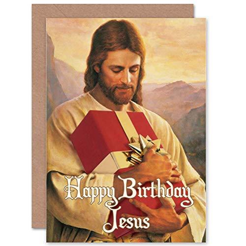 Wee Blue Coo LTD Christmas Xmas Merry Happy Birthday Jesus Funny Gift Sealed Greeting Card Plus Envelope Blank Inside Christus glücklich Lustig Geschenk (Happy Birthday Jesus Christus)