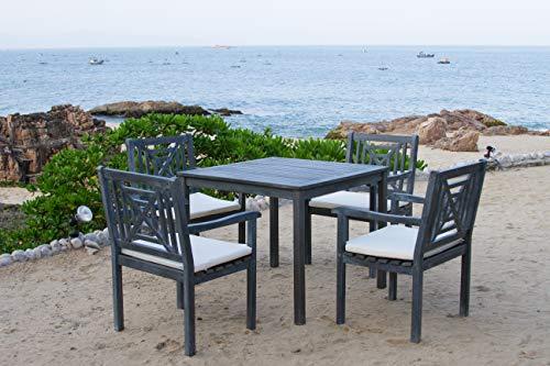 Safavieh Stuhl, Tisch und Schemel für den Garten, Holz, aschgrau/naturfarben, 58 x 61 x 88 cm