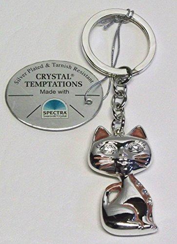 Gustav lindner 4646-se portachiavi gatto 45mm - lunghezza con la catena 110mm - componenti swarovski cristallo temptations® realizzato con spectra® cristallo strass - placcata in argento - antiappannante - confezionate singolarmente in una scatola regalo