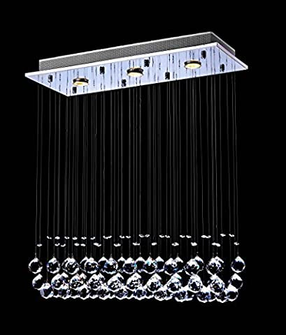 Saint Mossi® LED Modern Contemporary Crystal Ball Rain Drop Chandelier Lighting Flushmount Fixture Pendant Ceiling Lamp 3 Lights_Rectangular
