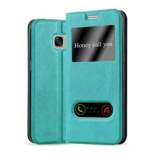 Cadorabo Hülle für Samsung Galaxy S7 - Hülle in Mint TÜRKIS - Handyhülle im Standfunktion & 2 Fenstern (View Design) - Case Cover Schutzhülle Etui Tasche Book Klapp Style