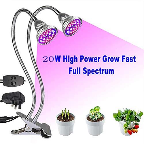 YUNFEILIU Pflanzenlampe, 20W LED-Anbaulampe, Full Spectrum Dual Head Grow Light, 80 LED-Chips Pflanzenlicht mit 360°Adjustable Gooseneck für Indoor-Pflanzen