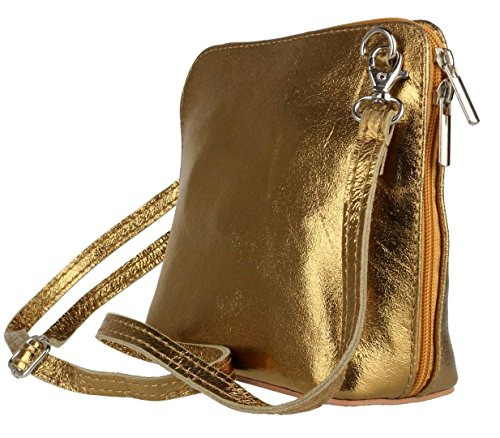 Craze London, Borsa a tracolla donna S Metalic old Gold