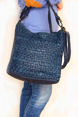 """Bear Design Sac Shopper sac fourre-tout cabas avec bandoulière """"Tess"""" en cuir tressé, lavée Rouge"""