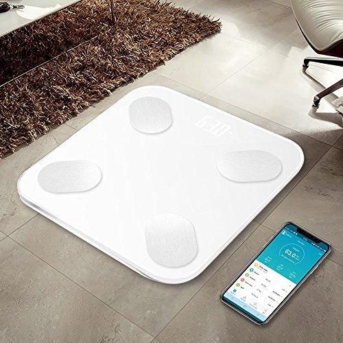 GJFeng Bluetooth Smart Körperfettwaage Messung Fett Wiegende Skala Genau Nach Hause Elektronische Waage Gewicht Wiegen 180kg WiFi Synchronisation (Color : White) Fett Bluetooth