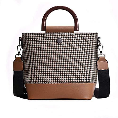 Haiwan Trendy Kontrastfarbe Handtasche Groß Leichte Henkeltasche Damen Einkaufen Tasche Mode Hahnentritt Schultertasche Frauen Umhängetasche Weich PU Leder Kuriertasche