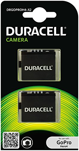 DuracellAkku für GoPro Hero 4AHDBT-401, Farbe: Schwarz, DRGOPROH4-X2, 2 Stück (Batterie Gopro 4 Silver Hero)