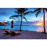 GREAT ART Twilight Crepuscolo Tramonto sulla Spiaggia, circondato da Palme e Sabbia fotomurale by XXL Poster Decorazione da Parete by (140 x 100 cm)
