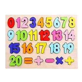 Afunti – Puzzle in Legno con Numeri da 1 a 20, Lettere Grandi e dai Colori Vivaci, educativo,