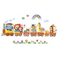 DECOWALL Animal Transports and Hot Air Balloons Kids Wall Stickers Wall Decals Peel and Stick Removable Wall Stickers for Kids Nursery Bedroom Living Room (1406A 1406AL 8024 18064P14064 18062P14063)
