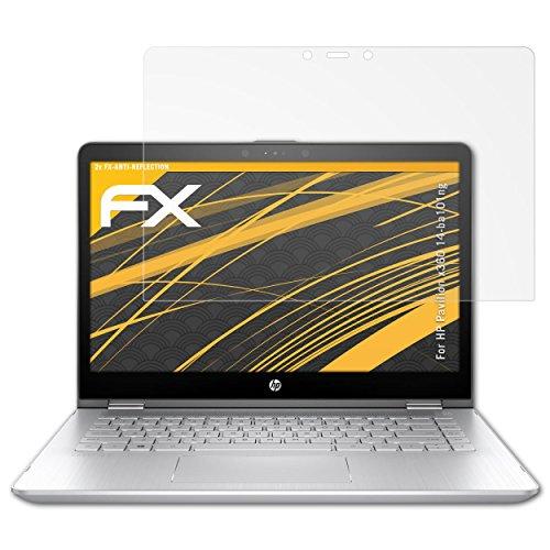 atFolix Panzerfolie kompatibel mit HP Pavilion x360 14-ba101ng Schutzfolie, entspiegelnde & stoßdämpfende FX Folie (2X)