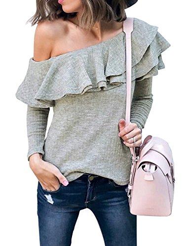 Annybar Damen Oberteile Sexy Langarm Rückenfrei Volant One Shoulder Pullover Bluse Langarmshirt
