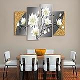 WXD arte lona estirada hermosas flores conjunto decorativo de 4