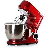 Klarstein Carina Rossa Küchenmaschine Teigknetmaschine (800 Watt, 6-stufige Geschwindigkeit, 4 Liter Schüssel) rot