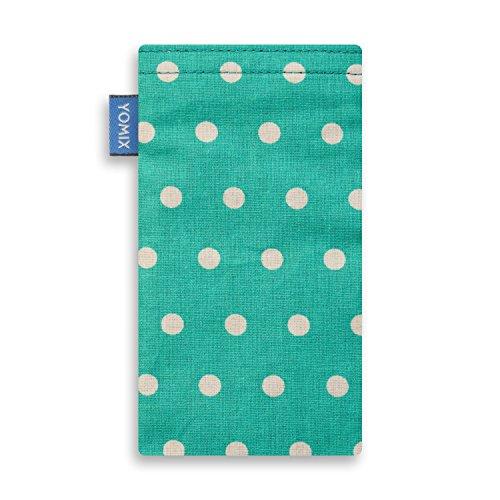 YOMIX Handytasche | Tasche | Hülle MALIN mit Strahlenschutz für Apple iPhone 6 Plus / 6s Plus / 7 Plus aus Jeansstoff mit genialer Display-Reinigungsfunktion durch Microfaserinnenfutter GUNILLA mint