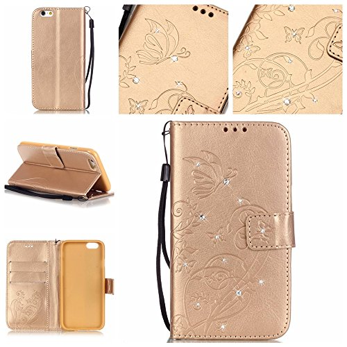 iPhone 5C Cuir Coque housse Etui,Vandot Case Cover pour iPhone 5C Fermeture Eclair Leather Money Sac Carte Bag Protection telephone Hull Cas Portefeuille + Stylet- Noir Papillon vigne-Or