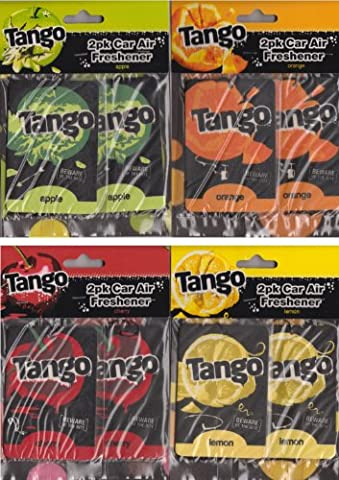4 x Tango Car Air Freshener 4 Scents Apple Orange Lemon Cherry 2 Per Pack