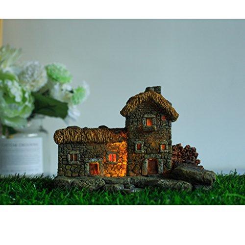 FLAMEER Gartendekoration Mini Haus Form Garten Blumentopf DIY Micro Landschaft mit Licht - 1# Hütte - 1 Licht Landschaft Licht
