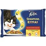 Felix Sensations Extras Gatto con Manzo e Un Pizzico di Formaggio e con Pollo e Un Pizzico di Bacon, 4 x 100 g - Confezione da 10 Pezzi