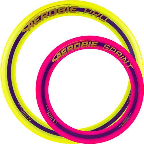 Aerobie Pro Wurfring Sprint Frisbee Ring Wurfspiel Set Pro Sprint Ring (Gelb / Pink)
