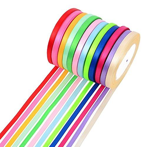 300Meter doppelseitigem Stoff Band Seide Satin Rolle, 12Farben (6mm breit) -