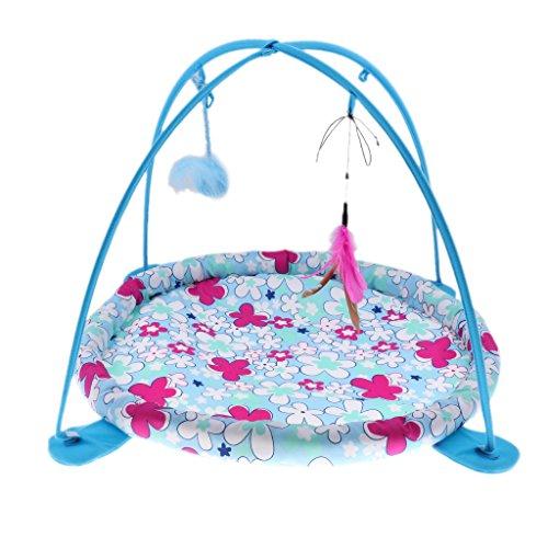 Homyl Katzenmatte Katzenbett Hängematte Zelt mit Ball und Feder Spielzeug für Kätzchen Katzen - Blau