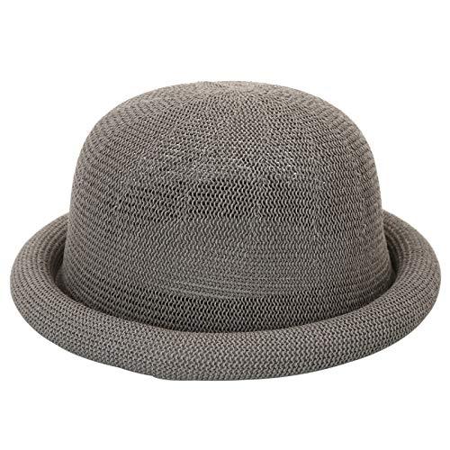 Damen Neue gestrickte Baumwolle und Leinen Rolle Seite Kuppel Wollmütze kleine Mode elegant hellgrau 57cm einstellbar