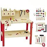 Unbekannt Werkbank mit Hammer, Große Ablageflöche und umfangreichem Zubehör: Spielzeug Holz Werkzeug für Kinder Kinderwerkbank