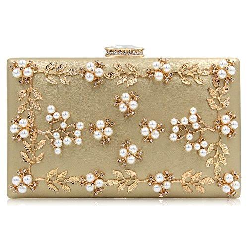 Milisente Frauen Perle Wulst Blumen Clutch Tasche Damen Abendtaschen Hochzeit Handtasche (Gold)