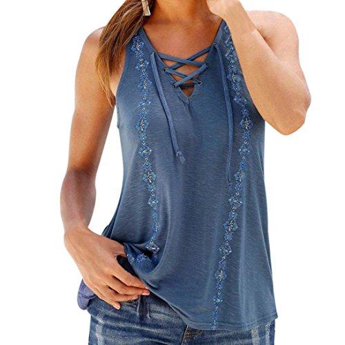 BHYDRY Frauen Sommer Print V-Ausschnitt ärmellose Träger Weste Shirt Tank Tops Bluse T-Shirt (Blau,L)