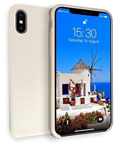 MyGadget Hardcase Hülle [Gummiert] für Apple iPhone XS/X - Schutzhülle Case mit Soft Touch Silikon Finish - Slim Schutz Back Cover Stoßfest in Creme